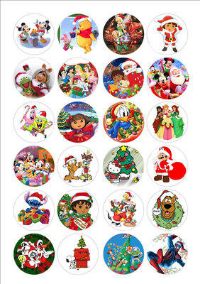 Kerst cartoon cake toppers