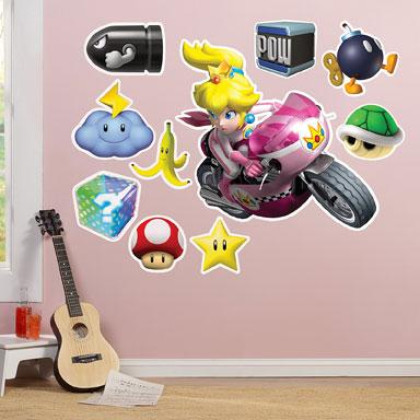 Mario kart Peach muurstickers XL