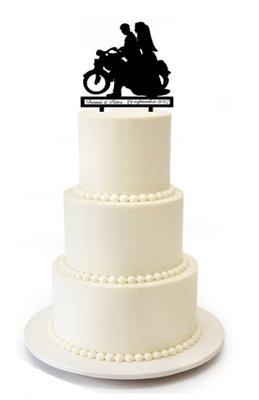 Bruidspaar op motor taarttopper