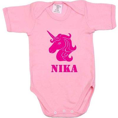 Babyromper bedrukt roze