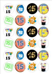 cijfer/getal 15 cake toppers