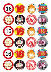 Getal/cijfer 16 cake toppers