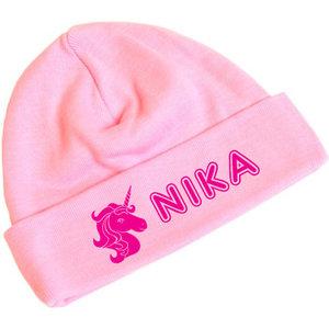 Babymutsje roze bedrukt