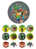 Minecraft combisheet taart disc en cake toppers